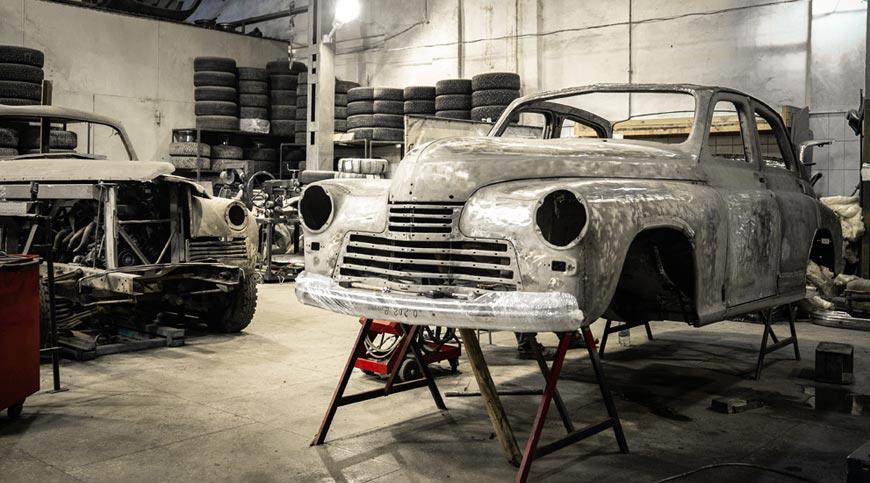 A car undergoing repairs